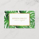 """Watercolor Tropical Monstera Leaves Pattern Business Card<br><div class=""""desc"""">An elegant tropical motif of watercolor monstera leaves becomes an eye-catching pattern on these designer business cards. The faux gold frame adds a luxe accent around your name or business name. This double-sided card allows ample room on the backside for your contact info, letting your brand shine on the front....</div>"""