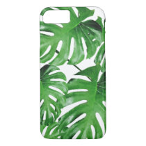 Watercolor Tropical Monstera Leaves Pattern iPhone 8/7 Case
