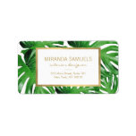 """Watercolor Tropical Monstera Leaves Pattern Label<br><div class=""""desc"""">Coordinates with the Watercolor Tropical Monstera Leaves Pattern Business Card Template by 1201AM. An elegant tropical motif of watercolor monstera leaves becomes an eye-catching pattern on these designer address labels. The faux gold frame adds a luxe accent around your name and address. These labels are perfect as address labels for...</div>"""