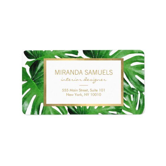 watercolor tropical monstera leaves pattern label
