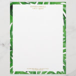 """Watercolor Tropical Monstera Leaves Pattern Letterhead<br><div class=""""desc"""">Coordinates with the Watercolor Tropical Monstera Leaves Pattern Business Card Template by 1201AM. An elegant tropical motif of watercolor monstera leaves becomes an eye-catching border pattern on this personalized letterhead. Art and design © 1201AM Design Studio 