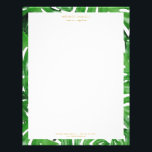 "Watercolor Tropical Monstera Leaves Pattern Letterhead<br><div class=""desc"">Coordinates with the Watercolor Tropical Monstera Leaves Pattern Business Card Template by 1201AM. An elegant tropical motif of watercolor monstera leaves becomes an eye-catching border pattern on this personalized letterhead. Art and design &#169; 1201AM Design Studio 