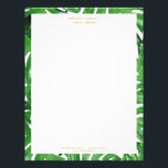 "Watercolor Tropical Monstera Leaves Pattern Letterhead<br><div class=""desc"">Coordinates with the Watercolor Tropical Monstera Leaves Pattern Business Card Template by 1201AM. An elegant tropical motif of watercolor monstera leaves becomes an eye-catching border pattern on this personalized letterhead. Art and design © 1201AM Design Studio 