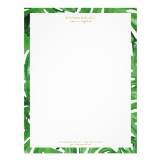 Watercolor Tropical Monstera Leaves Pattern Letterhead at Zazzle