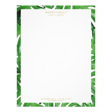 Watercolor Tropical Monstera Leaves Pattern Letterhead