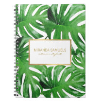 Watercolor Tropical Monstera Leaves Pattern Notebook