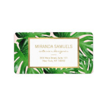 Watercolor Tropical Monstera Leaves Pattern Pink Label
