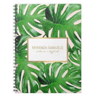 Watercolor Tropical Monstera Leaves Pattern Pink Notebook
