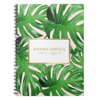 Watercolor Tropical Monstera Leaves Pattern Pink Spiral Notebook