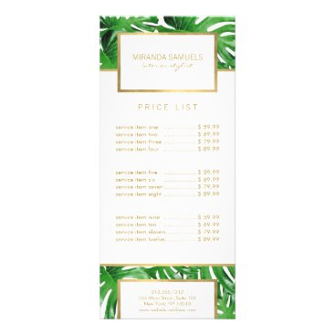 Watercolor Tropical Monstera Leaves Pattern Rack Card