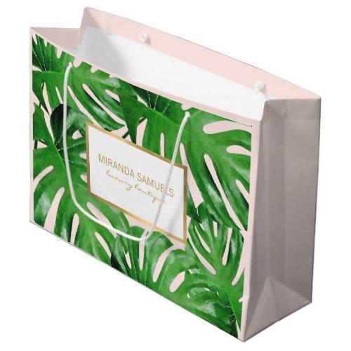 Watercolor Tropical Monstera Leaves Pink Large Gift Bag
