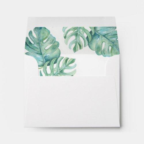 Watercolor Tropical Monstera Palm Leaf Envelope