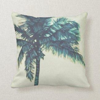 Watercolor Tropical Palm Beach Throw Pillow
