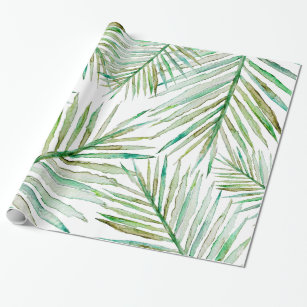 bc9f8189cc1e Watercolor Tropical Palm Leaf Wrapping Paper