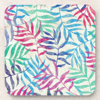 Watercolor Tropical Palm Leaves Beverage Coaster