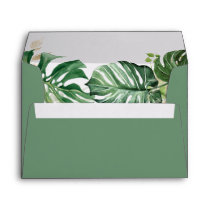 Watercolor Tropical Palm Leaves for 5x7 card Envelope