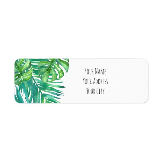watercolor tropical palm leaves label
