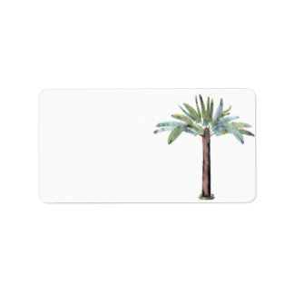 Watercolor Tropical Palm Tree Label