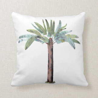 Watercolor Tropical Palm Tree Throw Pillow