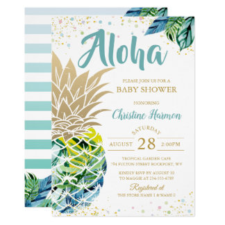 Watercolor Tropical Pineapple Beach Baby Shower Invitation