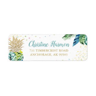 Watercolor Tropical Pineapple Beach Return Address Label