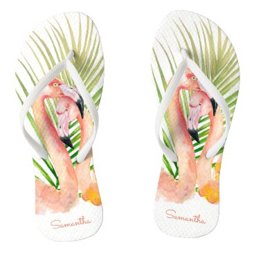 Beach Themed Watercolor Tropical Pink Flamingos with Your Name Flip Flops