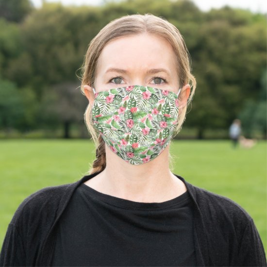 Watercolor Tropical Pink Flowers and Green Leaves Adult Cloth Face Mask