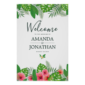 Watercolor tropical Wedding Welcome Poster