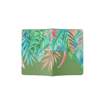 Beach Themed Watercolor Tropicals Passport Holder