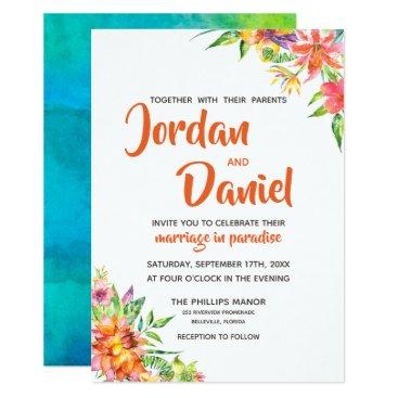 Hawaiian Themed Watercolor Tropics Floral Chic Destination Wedding Card