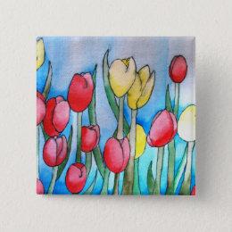 Watercolor Tulips (Kimberly Turnbull Art) Button