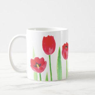 Watercolor tulips mug
