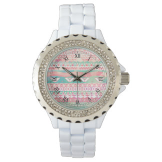 Watercolor Turquoise Pink Girly Abstract Aztec Watches
