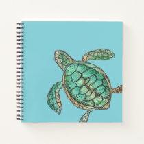 Watercolor Turtle Ocean Blue Notebook