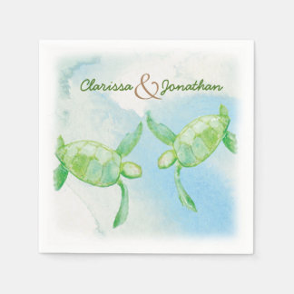 Watercolor turtle Wedding Paper Napkins