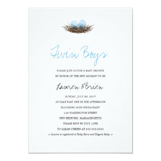 Watercolor Twin Boys Bird's Nest Baby Shower Card