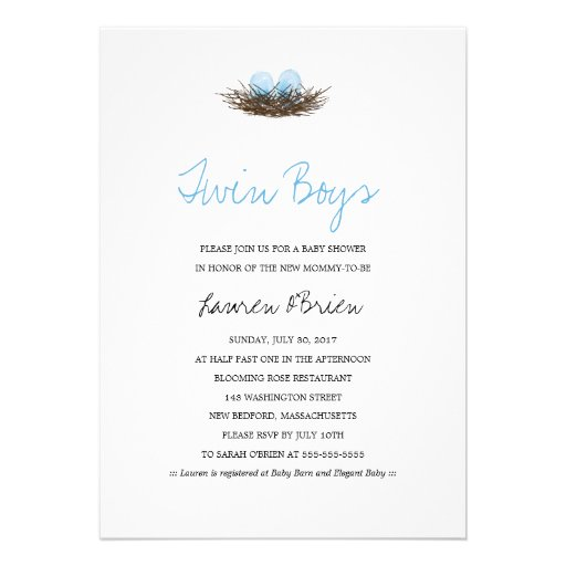 Watercolor Twin Boys Bird's Nest Baby Shower Personalized Invites