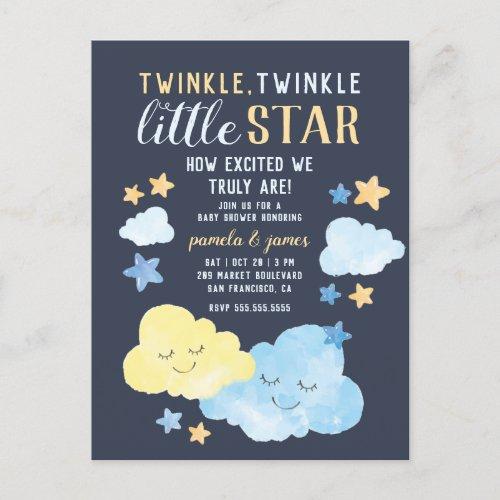 Watercolor Twinkle Twinkle Little Star Baby Shower Invitation Postcard