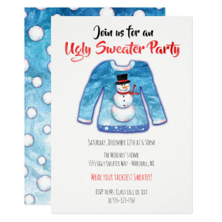 Watercolor Ugly Sweater Tacky Christmas Party Card at Zazzle