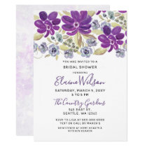 Watercolor Ultra Violet Floral Bridal Shower Card