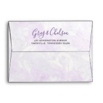 Watercolor Ultra Violet Floral Spring Wedding Envelope