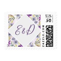 Watercolor Ultra Violet Floral Spring Wedding Postage
