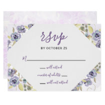 Watercolor Ultra Violet Spring Wedding rsvp Card
