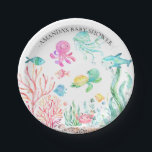 """Watercolor Under the Sea  Baby Shower 7&quot; Plate<br><div class=""""desc"""">Cute under the seal baby shower. Change our background color by clicking on customize and using our color picker.   Matching items available in our shop.</div>"""