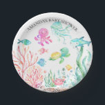 """Watercolor Under the Sea  Baby Shower 7"""" Plate<br><div class=""""desc"""">Cute under the seal baby shower. Change our background color by clicking on customize and using our color picker.   Matching items available in our shop.</div>"""