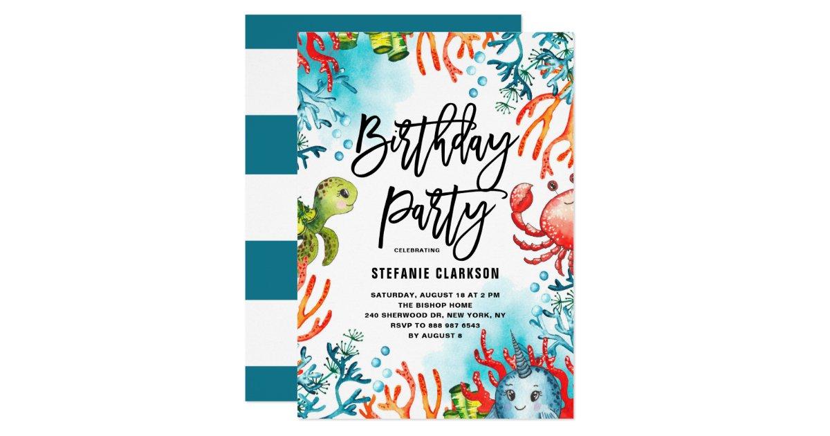 Watercolor Under The Sea Friends Birthday Party Invitation Zazzle Com