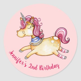 Watercolor Unicorn Adjustable Sticker Sheet