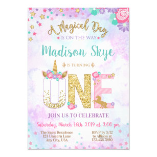 Watercolor Unicorn First Birthday Invitation