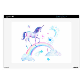 Watercolor unicorn over the rainbow skin for laptop