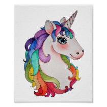Watercolor Unicorn With Rainbow Hair Poster
